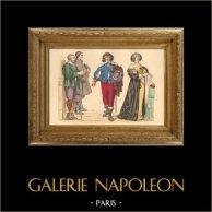 Histoire de la Mode Française - Costumes de Paris - 17ème Siècle - XVIIeme Siècle - Gentilhomme et Paysans - Mode durant le Règne de Louis XIII de France (1635)
