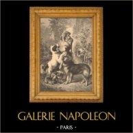 Cani e Gatto - Cagnolino - Une Mère de Famille | Incisione xilografica originale. Anonima. 1880