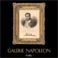 Portrait de Napoléon Bonaparte (avec sa signature) | Gravure sur acier originale dessinée par L. Marckl, gravée par Hopwood. 1837