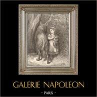 Contes de Perrault - I Racconti di Mamma Oca - Cappuccetto Rosso - Lupo - Gustave Doré | Incisione xilografica originale disegnata da G. Doré, incisa da Pannemaker. 1880