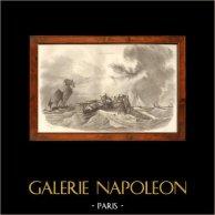 Navío - Pesca - Pesquería - Pescador - Arenque - Pêche aux Harengs | Original acero grabado dibujado por L. Garneray, grabado por Thevenon. 1838