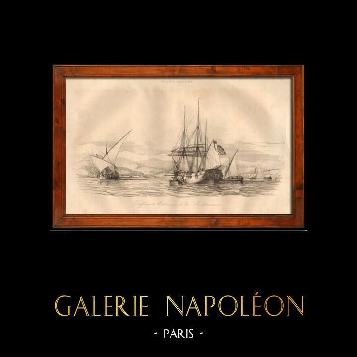 Stampe Antiche & Disegni | Battello - Barca a vela - Nave - Bastimento Francese in Mediterraneo | Stampa calcografica | 1838