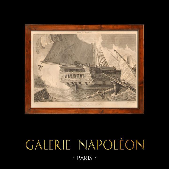 Antique Prints & Drawings   Naval Battle - Shipwreck - Boat - Sailboat - Vassel - French Ships   Intaglio print   1838