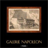Battaglia Navale - Naufragio - Battello - Barca a vela - Nave - Bastimento Francese | Incisione su acciaio originale disegnata da Morel, incisa da A. Et. 1838
