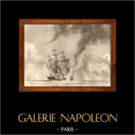 Tempête - Naufrage - Bateau - Voilier - Navire - Vaisseau Français Pris dans une Trombe d'Eau | Gravure sur acier originale dessinée par L. Garneray, gravée par Alès. 1838