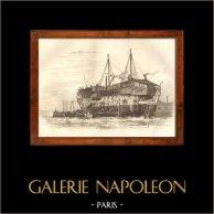 Battello - Barca a vela - Nave - Bastimento Inglese | Incisione su acciaio originale disegnata da Cook, incisa da R. Jeune. 1838