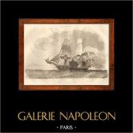 Batalla Naval - Buque de Guerra Francés - La Chaloupe Canonière 93 | Original acero grabado dibujado por Gudin, grabado por Ruhiere. 1838