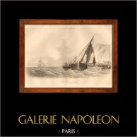 Boat - Sailboat - Vassel - The Smuggler | Original steel engraving drawn by L. Garnerey, engraved by Boullemier. 1838
