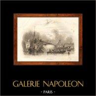 Naufrage - Bateau - Voilier - Navire - Vaisseau Français - Abattage | Gravure sur acier originale dessinée par L. Garneray, gravée par Rouargue. 1838
