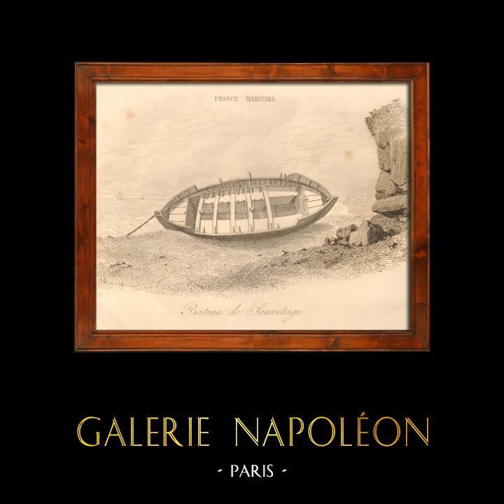 Gravures Anciennes & Dessins   Canot - Bateau de Sauvetage   Taille-douce   1838