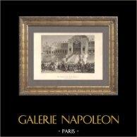 La Distribution des Aigles par le Prince Louis Napoléon Bonaparte sur le Champ-de-Mars à Paris devant l'école Militaire (10 Mai 1852) | Gravure sur acier originale dessinée par H. Philippoteaux, gravée par Follet. 1860