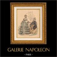 Grabado de Moda Francés - Moda Francesa - Paris - Le Follet - Chapeau de Lucy-Hocquet - Robe en Cachemire Brodé