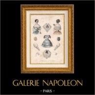 French Fashion Plate - French Fashion Print - Paris - Le Moniteur de la Mode - 20 July 1846 - 20 Dress and Hat | Original fashion plate drawn by L. Préval. Original hand-colored. 1846