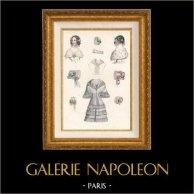 Grabado de Moda Francés - Moda Francesa - Paris - Le Moniteur de la Mode - 30 de Marzo de 1844 - Vestido y Sombrero