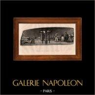 Bataille Navale - Bateau - Voilier - Navire - Intérieur de la Batterie d'une Frégate | Gravure sur acier originale dessinée par L. Garneray, gravée par Manceau. 1838