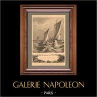 La Pêche aux Bains de Mer - Pêcheur - Pêche du Maquereau sous Voile | Gravure sur bois dessinée par C. Weber, gravée par Huyot. 1890