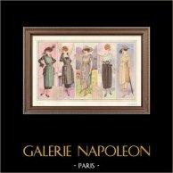 Fashion Plate - French Mode - Parisian Woman - Paris - France - Dress - Creations Robert Le Play - Creation Berthe Hermance   Original fashion plate. Anonymous. 1930