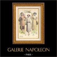 Grabado de Moda Francesa - Parisiense - Parisina - Francia - Abrigos - Otoño 1921 - L'Album Tailleur de la Femme Chic