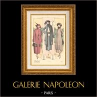 Grabado de Moda Francesa - Parisiense - Parisina - Francia - Abrigos - L'Album Tailleur de la Femme Chic - Otoño 1921