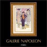 Gravure de Mode - Femme Française - Parisienne - France - Trois Tailleurs Nouveaux - Création Robert Le Play | Gravure de mode originale. Anonyme. 1930