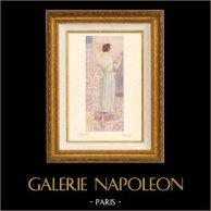 Stampa di Moda Francese - Parigina - Francia - Abito - Robe de Jeune Fille en Crêpe Chimeria