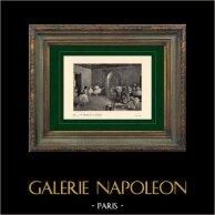 Impressionismo - Balletto - Danza - Le Foyer de la Danse Rue Le Peletier (Edgar Degas - 1872) | Incisione heliogravure originale su carta velina secondo Edgar Degas. Stampata 6 anni prima della sua morte. 1911