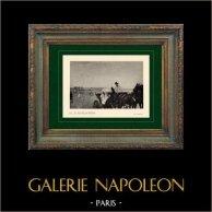 Impressionism - hästkapplöpning - La Voiture aux Courses (Edgar Degas - 1873) | Original heliogravyr på velängpapper efter Edgar Degas. Utskrivavet 6 år för hans död. 1911