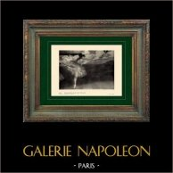 Impressionism - Balett - Dansare - Danseuse sur une Pointe (Edgar Degas - 1876) | Original heliogravyr på velängpapper efter Edgar Degas. Utskrivavet 6 år för hans död. 1911