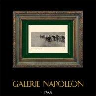 Impressionism - hästkapplöpning - För Starten - Avant le Départ (Edgar Degas - 1873)   Original heliogravyr på velängpapper efter Edgar Degas. Utskrivavet 6 år för hans död. 1911