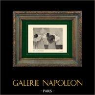 Impressionnisme - Las Lavanderas - Blanchisseuses Portant du Linge en Ville (Edgar Degas - 1879)