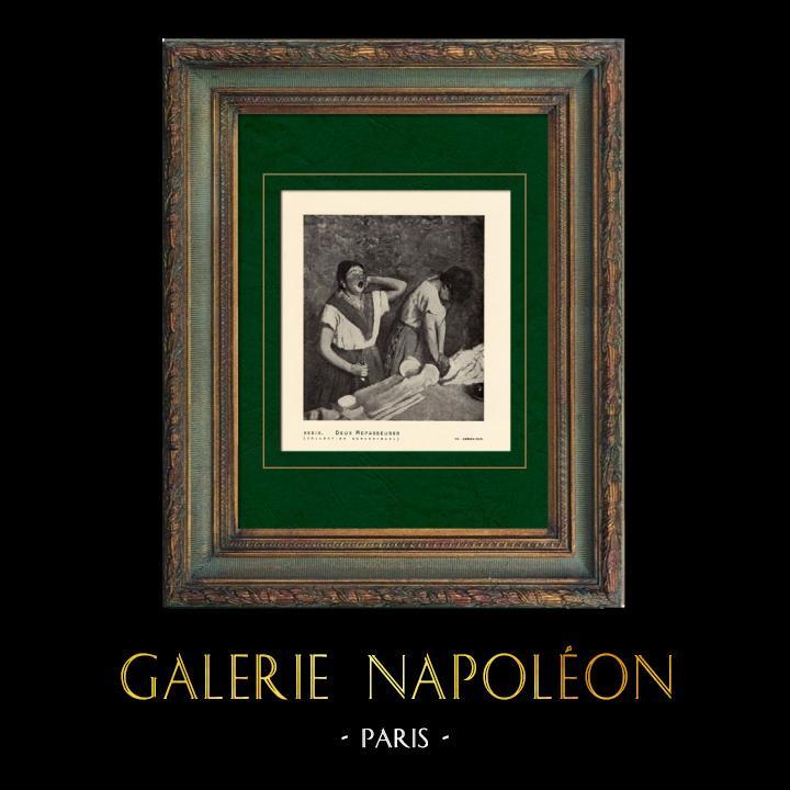 Gravures Anciennes & Dessins | Impressionnisme - Deux Repasseuses (Edgar Degas - 1882) | Héliogravure | 1911