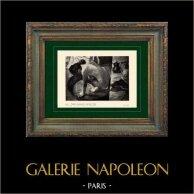 Impressionismo - Nudo Artistico - Donna nel suo Bagno - Femme Accroupit dans son Tub (Edgar Degas - 1886) | Incisione heliogravure originale su carta velina secondo Edgar Degas. Stampata 6 anni prima della sua morte. 1911