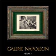 Impressionnisme - Ballet - Danseuses sur une Banquette (Edgar Degas - 1891) | Héliogravure originale sur papier velin d'après Edgar Degas. Imprimée 6 ans avant sa mort. 1911