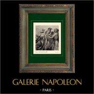 Impressionismo - Nudo Artistico - Donna che Esce dal Bagno - Femme Sortant du Bain (Edgar Degas - 1896) | Incisione heliogravure originale su carta velina secondo Edgar Degas. Stampata 6 anni prima della sua morte. 1911