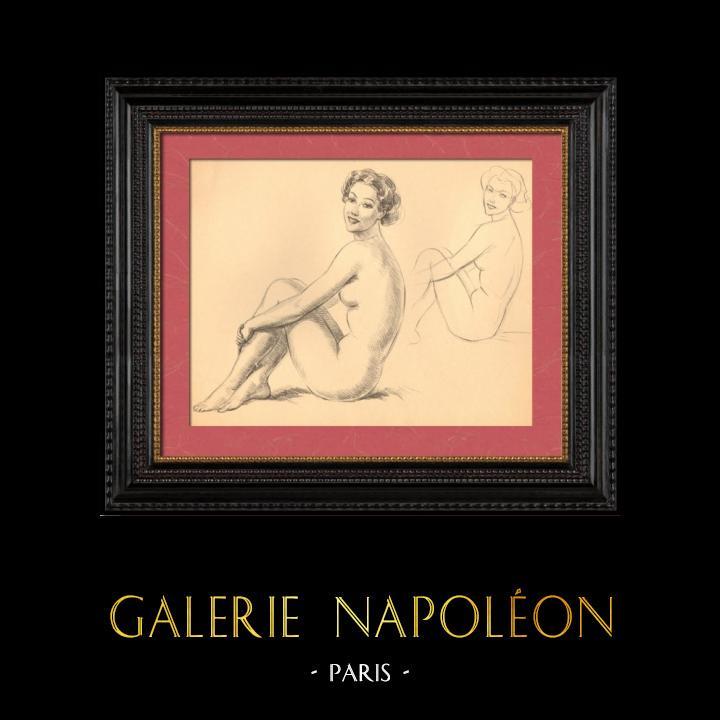 Grabados & Dibujos Antiguos   Desnudo Artístico - Desnudo Femenino - Mujer - Estudio - Simone - Postura 1   Plancha   1950