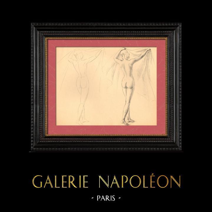 Gravures Anciennes & Dessins   Nu Artistique - Nu Féminin - Femme - Etude - Simone - Pose 2   Planche   1950