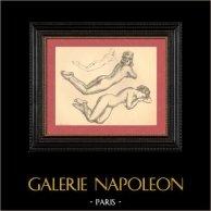 Desnudo Artístico - Desnudo Femenino - Mujer - Estudio - Isabelle - Postura 4 | Plancha. Anónimo. 1950