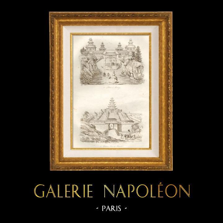Gravures Anciennes & Dessins | Japon - Palais à Onnay - Château Fort de Firandeau | Taille-douce | 1834