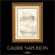 China - Nave di trasporto di Canton - Largo barcone di guerra | Incisione su acciaio originale disegnata da Louis Auguste de Sainson. 1834