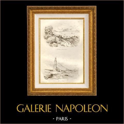 Rochedo de Gibraltar - Gibraltaroeste - Espanha - Farol da Tarifa | Gravura em metal aço original desenhada por Louis Auguste de Sainson. 1834