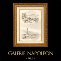 Rocher de Gibraltar - Gibraltar - Côté de l'Ouest - Espagne - Phare de Tarifa | Gravure sur acier originale dessinée par Louis Auguste de Sainson. 1834
