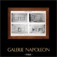Dibujo de Arquitecto - Arquitectura - Una escuela para niñas (Georges Aye) | Originale heliotipia por E. Le Deley. 1910