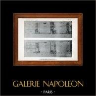 Dessin d'Architecte - Architecture -  Saint-Cloud  - Groupe scolaire - Montretout - Intérieur - (Payret-Dortail et Ch. Harlay) | Héliogravure originale. Anonyme. 1906