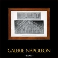 Dibujo de Arquitecto - Arquitectura - Paris - Fundación Rothschild - Pl. 23 (Gustave Majou) | Original helio grabado. Anónimo. 1906