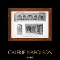 Dibujo de Arquitecto - Arquitectura - Paris - Fundación Rothschild - Pl. 24 (Gustave Majou) | Original helio grabado. Anónimo. 1906