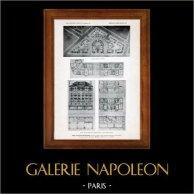 Dibujo de Arquitecto - Arquitectura - Paris - Fundación Rothschild - Pl. 25 (Gustave Majou) | Original helio grabado. Anónimo. 1906