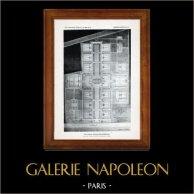 Ritning av Arkitekt - Arkitektur - Saint-Dizier - Departements- ålderdomshem - Pl. 62 (Félicien Balley) | Original heliogravyr. Anonymt. 1906