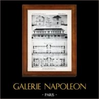 Disegno di Architetto - Architettura - Saint-Dizier - Ospizio Dipartimentale - Pl. 63 (Félicien Balley) | Incisione heliogravure originale. Anonima. 1906