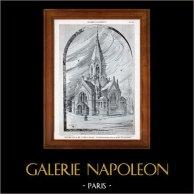 Dessin d'Architecte - Architecture - Temple Protestant - Perspective (Neukomm) | Héliotypie originale de E. Le Deley. 1910