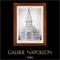 Dessin d'Architecte - Architecture - Temple Protestant - (Neukomm) | Héliotypie originale de E. Le Deley. 1910
